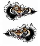 SMALL Long Pair Ripped Metal Design With Roaring Bengal Tiger Motif Vinyl Car Sticker 73x41mm